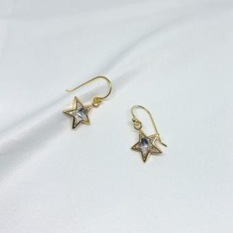 Kolczyki LARA srebrne pozłacane z gwiazdkami