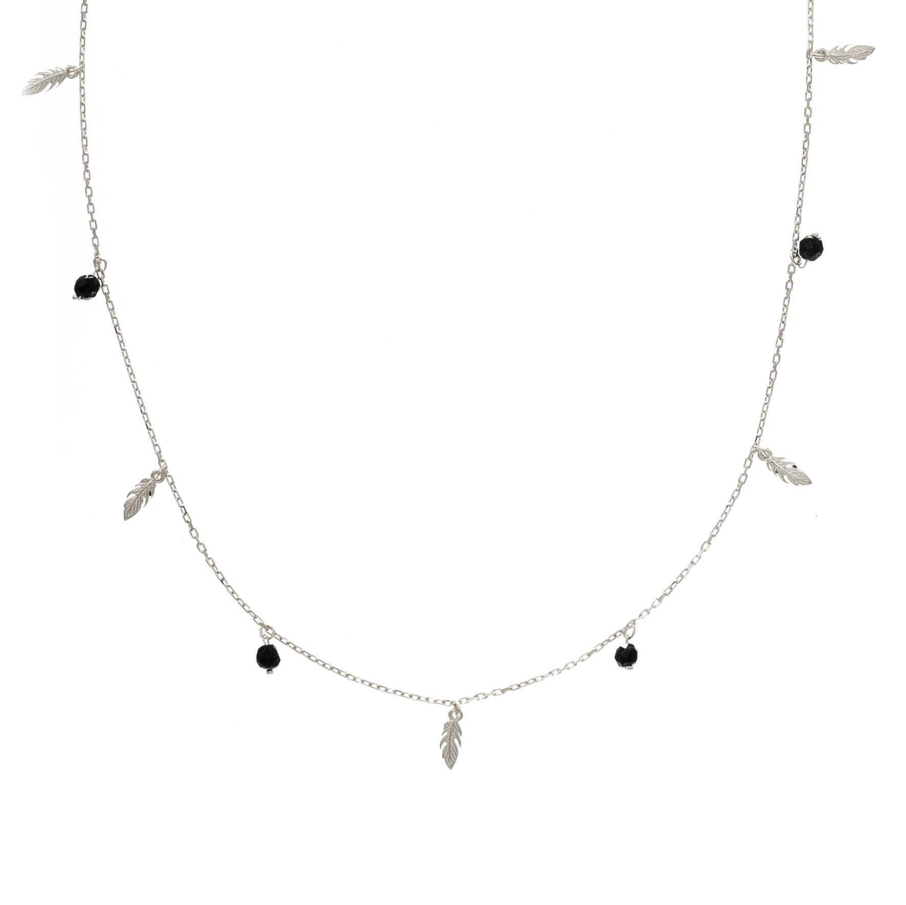 Naszyjnik OVAL srebrny z naturalnym onyksem i piórkami
