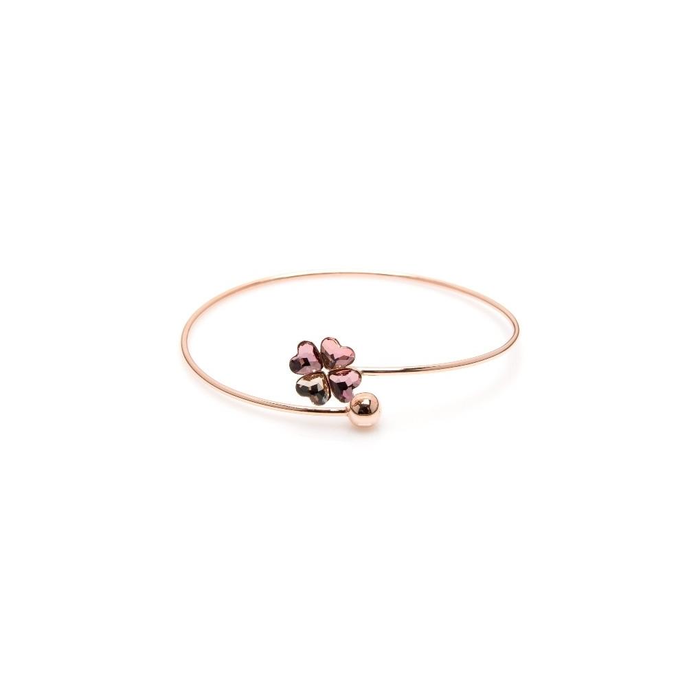 Bransoletka VENUS srebrna pozłacana na różowo z kryształem Swarovskiego