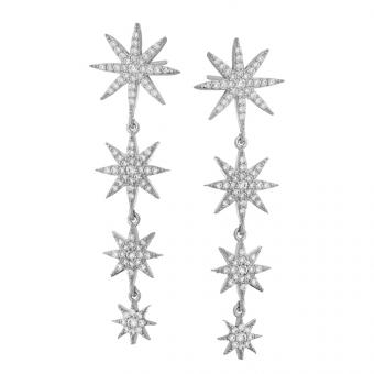 Kolczyki SKY srebrne z gwiazdkami i cyrkoniami