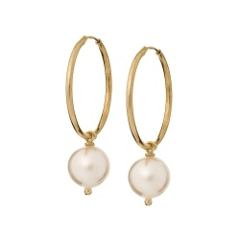 Kolczyki ARIEL srebrne pozłacane kółka 2 cm z naturalnymi perłami