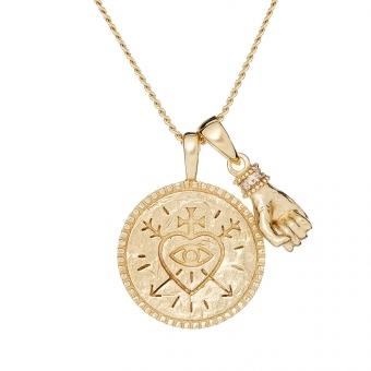 Naszyjnik SKY srebrny pozłacany z monetą i ręką