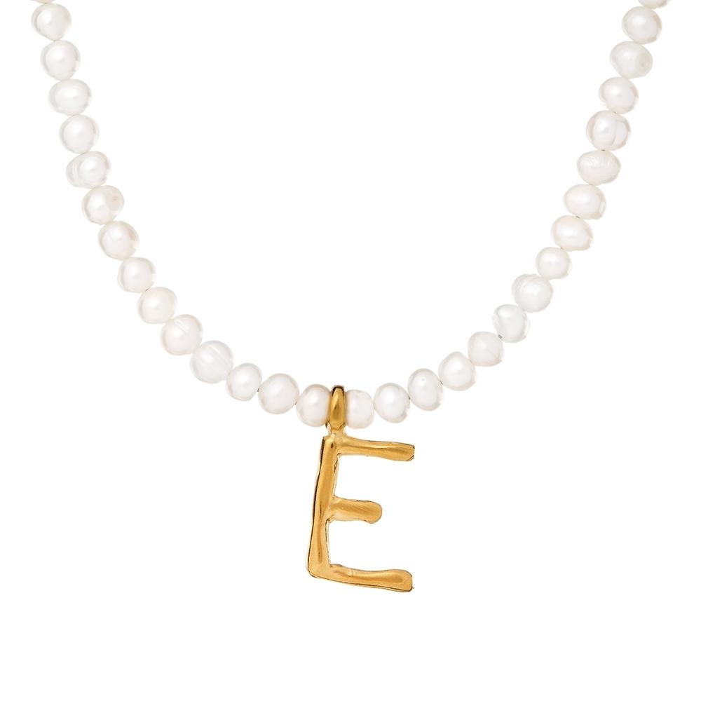 Choker ARIEL srebrny pozłacany z naturalnymi perłami i literą E