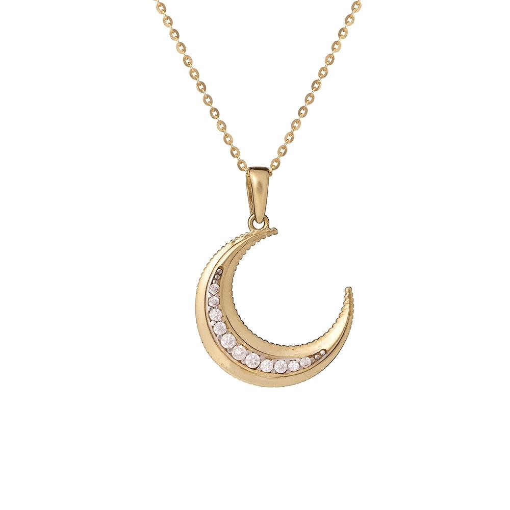 Wisiorek GLOW złoty z księżycem i cyrkoniami