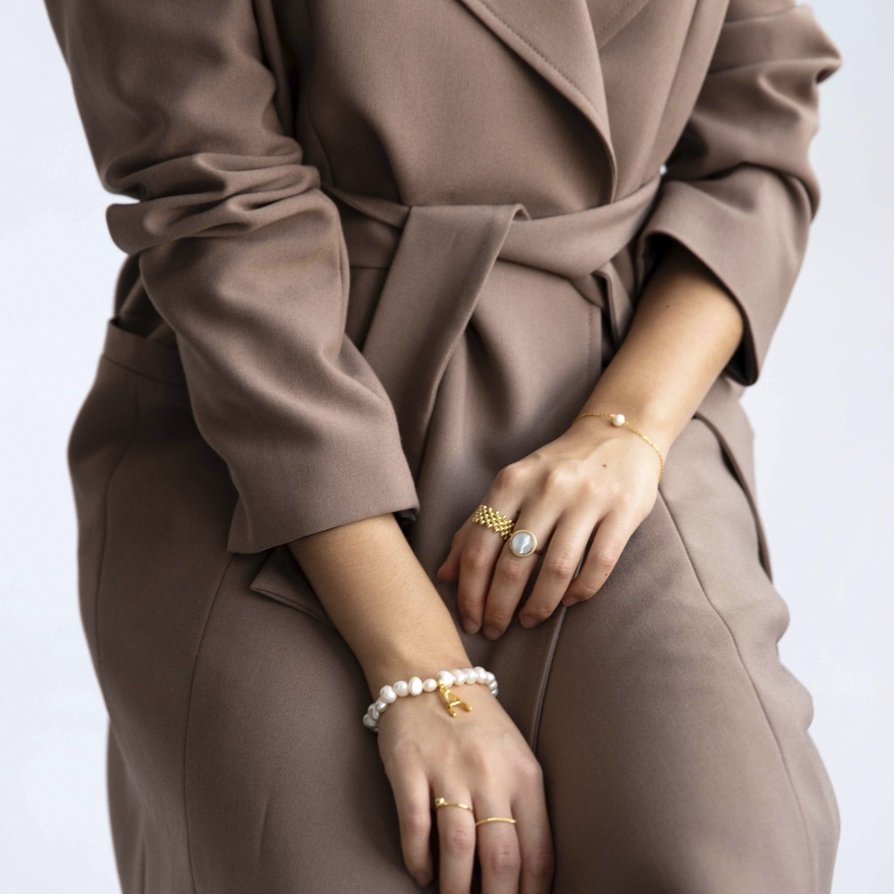 Bransoletka ARIEL srebrna pozłacana z naturalną perłą