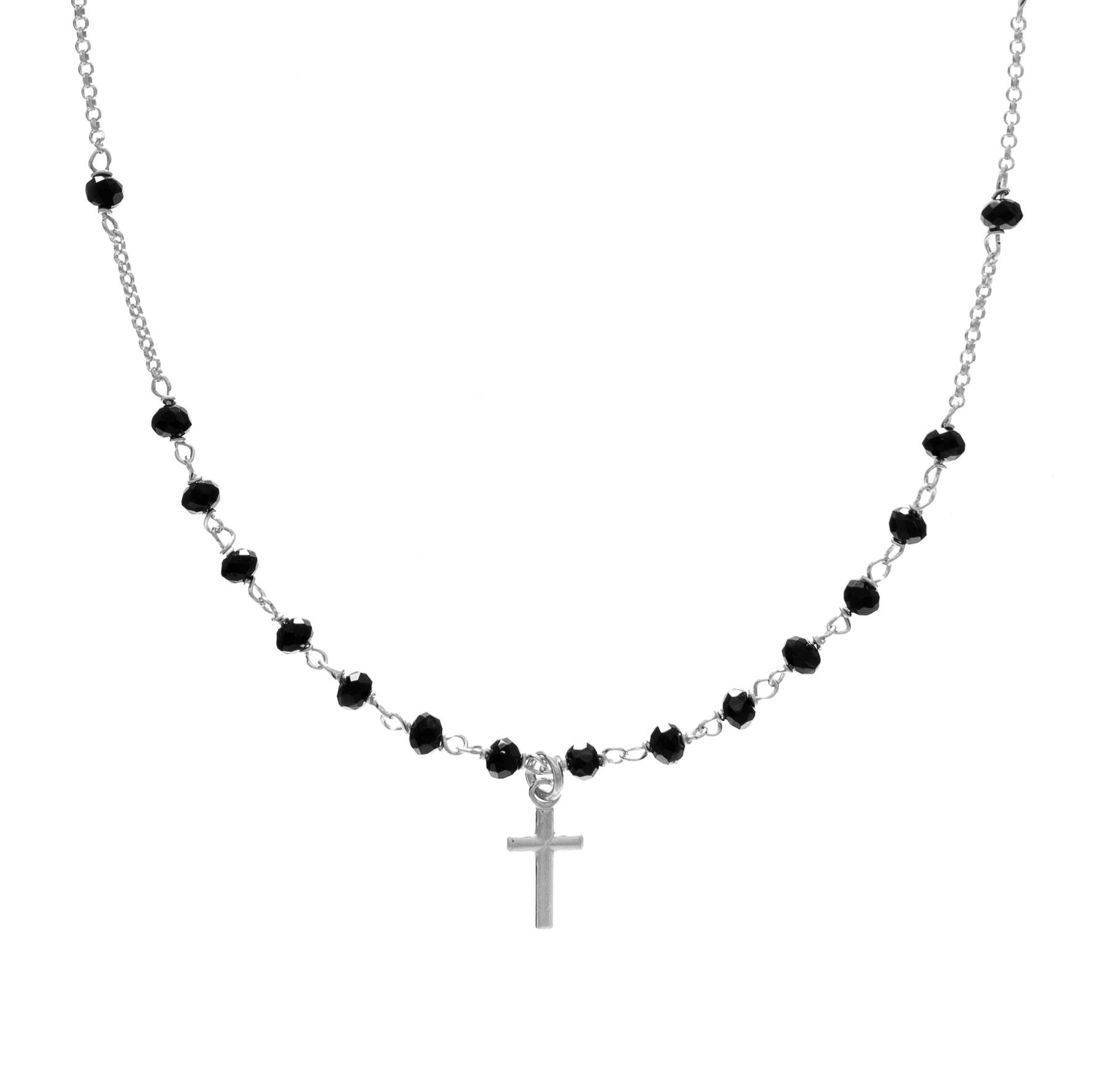 Choker TRENDY srebrny z kryształkami i krzyżykiem